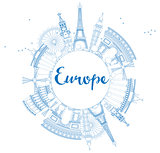Famous landmarks in Europe. Outline Vector illustration.