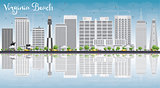 Virginia Beach (Virginia) Skyline with Gray Buildings and Reflec