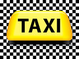 Taxi sign with checkered background