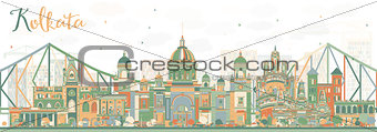 Abstract Kolkata Skyline with Color Landmarks.