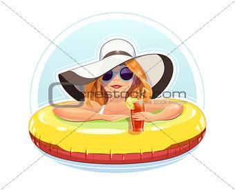 Beautiful girl swim with rubber circle