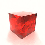 Red glass cube oil painted. 3d illustration