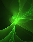 glowing green curved lines over dark Abstract Background. Illustration.