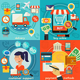 Customer Support, Buy Online, Payment Methods And Delivery Concepts