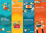 Flat concept banners. Social Marketing, Development, Analytics, SEO