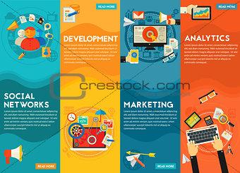 Flat concept banners. Social Marketing, Development, Analytics, SEO