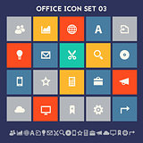 Office 3 icon set. Multicolored square flat buttons
