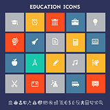 Educational icon set. Multicolored square flat buttons