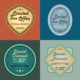 Set of retro vintage styled discount labels