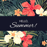 Summer tropical hawaiian background with palm tree leaves and exotic flowers
