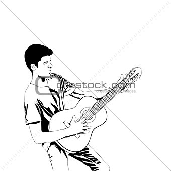 Man with acoustic guitar line art