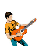 Young man playing the guitar .