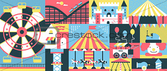 Amusement park background flat