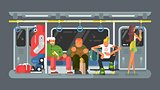 Subway with people flat design