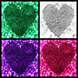 round mosaic spots heart backgrounds set