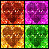 round mosaic spots heart with pulse backgrounds set