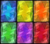 Color glass abstract backgrounds set 6 in 1