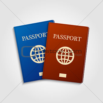 Blue and red passports.