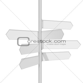 Blank white traffic road sign