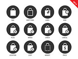 Shopping bags icons on white background