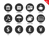Banking and business icons on white background