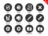 Application buttons icons on white background