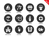 Beach tropical resort icons on white background