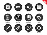 Blogger and office icons on white background