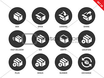 Box and package icons on white background