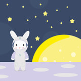 Funny bunny astounaut on the moon