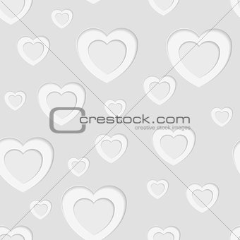 Grey seamless paper pattern with hearts