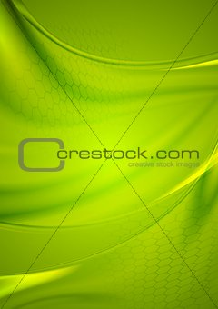 Abstract green wavy shiny vector background