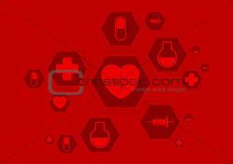 Bright red health vector background with medical icons