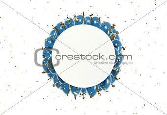 circle badge and blue balloons