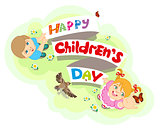 Happy Childrens Day. Boy and girl. Lettering text for greeting card