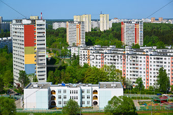 Top view of Zelenograd Administrative District, Moscow