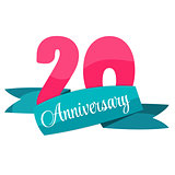 Cute Template 20 Years Anniversary Sign Vector Illustration