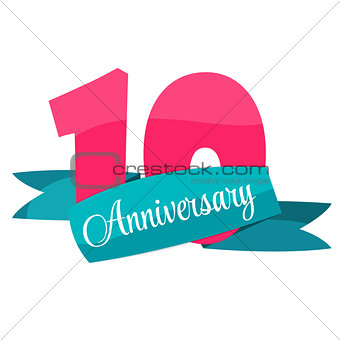 Cute Template 10 Years Anniversary Vector Illustration