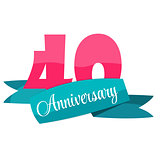 Cute Template 40 Years Anniversary Sign Vector Illustration