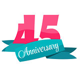 Cute Template 45 Years Anniversary Sign Vector Illustration