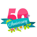 Cute Template 50 Years Anniversary Sign Vector Illustration