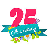 Cute Template 25 Years Anniversary Sign Vector Illustration