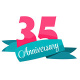 Cute Template 35 Years Anniversary Sign Vector Illustration