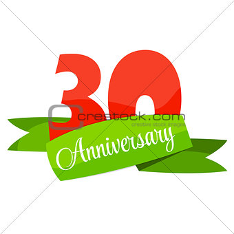 Cute Template 30 Years Anniversary Sign Vector Illustration