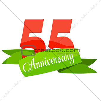 Cute Template 55 Years Anniversary Sign Vector Illustration