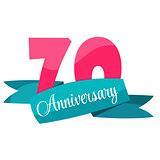 Cute Template 70 Years Anniversary Sign Vector Illustration