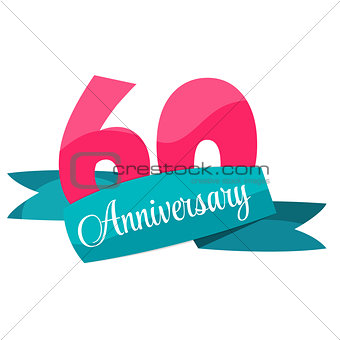 Cute Template 60 Years Anniversary Sign Vector Illustration