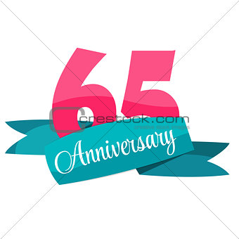 Cute Template 65 Years Anniversary Sign Vector Illustration