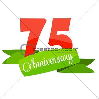 Cute Template 75 Years Anniversary Sign Vector Illustration