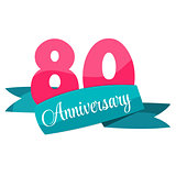 Cute Template 80 Years Anniversary Sign Vector Illustration